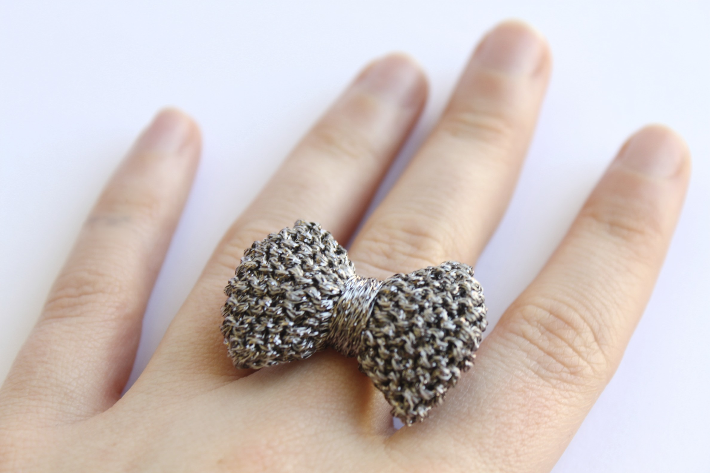 crochet sporadic pin lace textile jewelry ring modern gold knitted design wire rings band